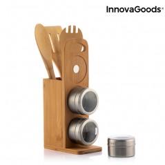 Magnestisches Gewürzstreuer-Set mit Bambus-Zubehör Bamsa