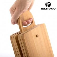 TakeTokio Bambus-Küchenbretter mit Halter (7 Stück)