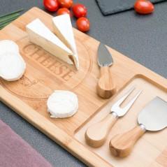 TakeTokio Bambus Käseschneidbrett mit Messern (4 Teile)