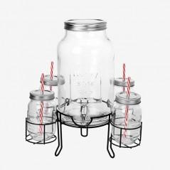 Vintage Coconut Getränkespender mit 4 Gläsern