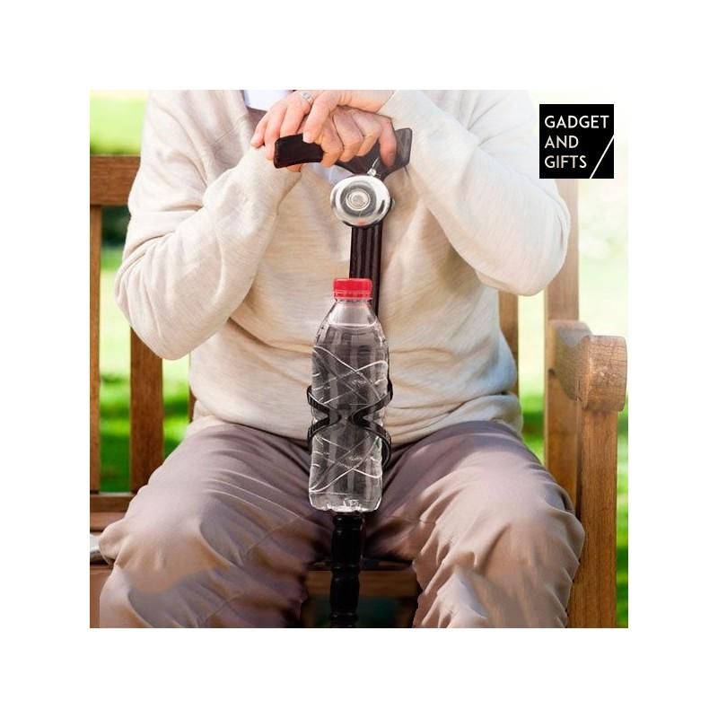 Holzstock mit Glocke und Flaschenhalter